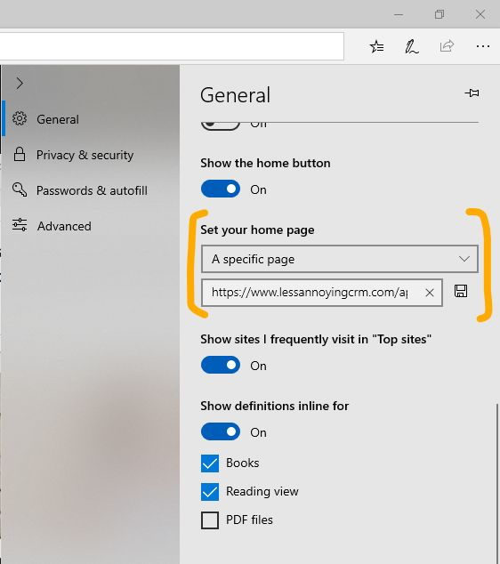 Make LACRM your home page in Edge