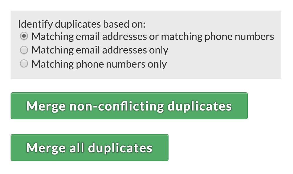 Merge all non-conflicting duplicates with one click!