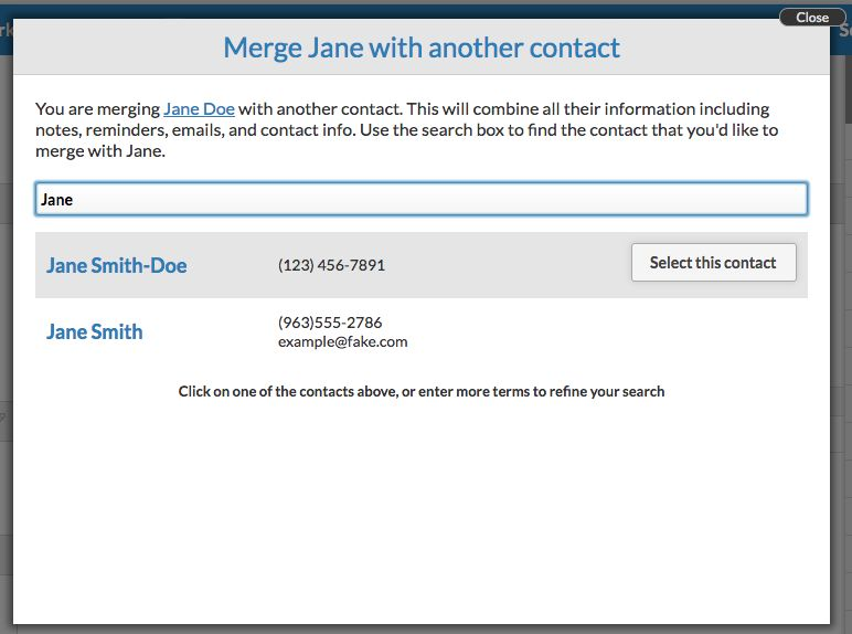 Select the correct contact to merge