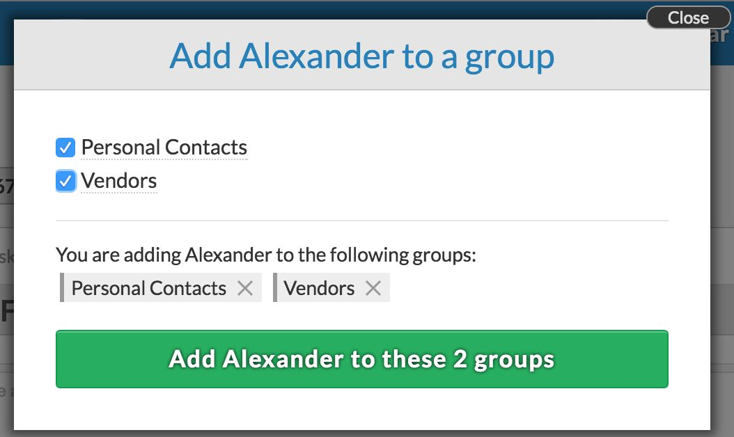 Adding a contact to multiple groups at once