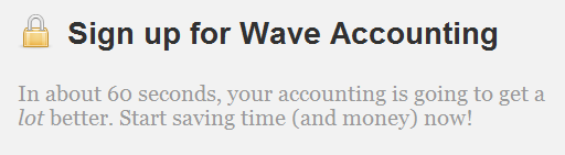 WaveAccounting quick signup