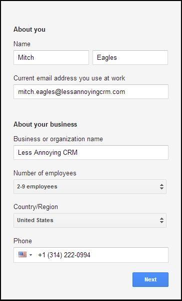 Google Apps Signup Form