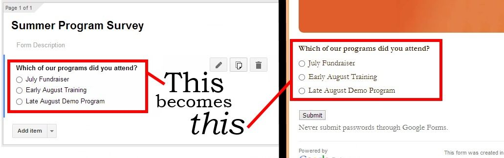 Google Form creating view and final view