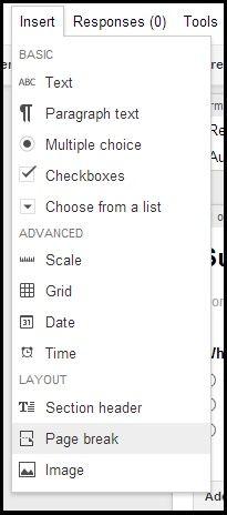 Google Forms insert menu