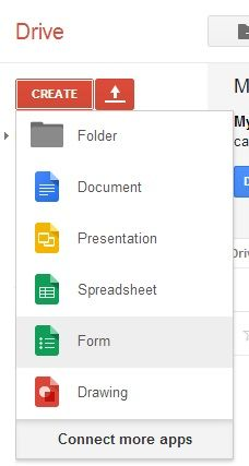 Choose Form from the list in Google Drive