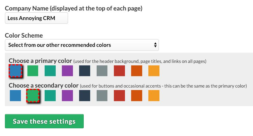 Less Annoying CRM lets you choose your color palette