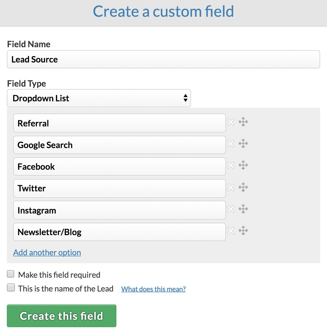Customizing your pipelines to track lead source