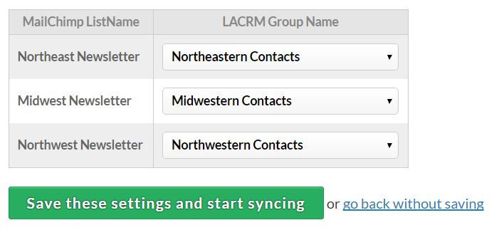 Syncing groups with lists in MailChimp