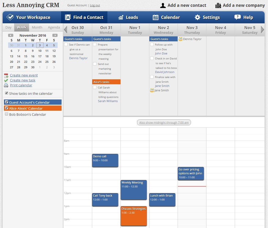 Calendar in Less Annoying CRM