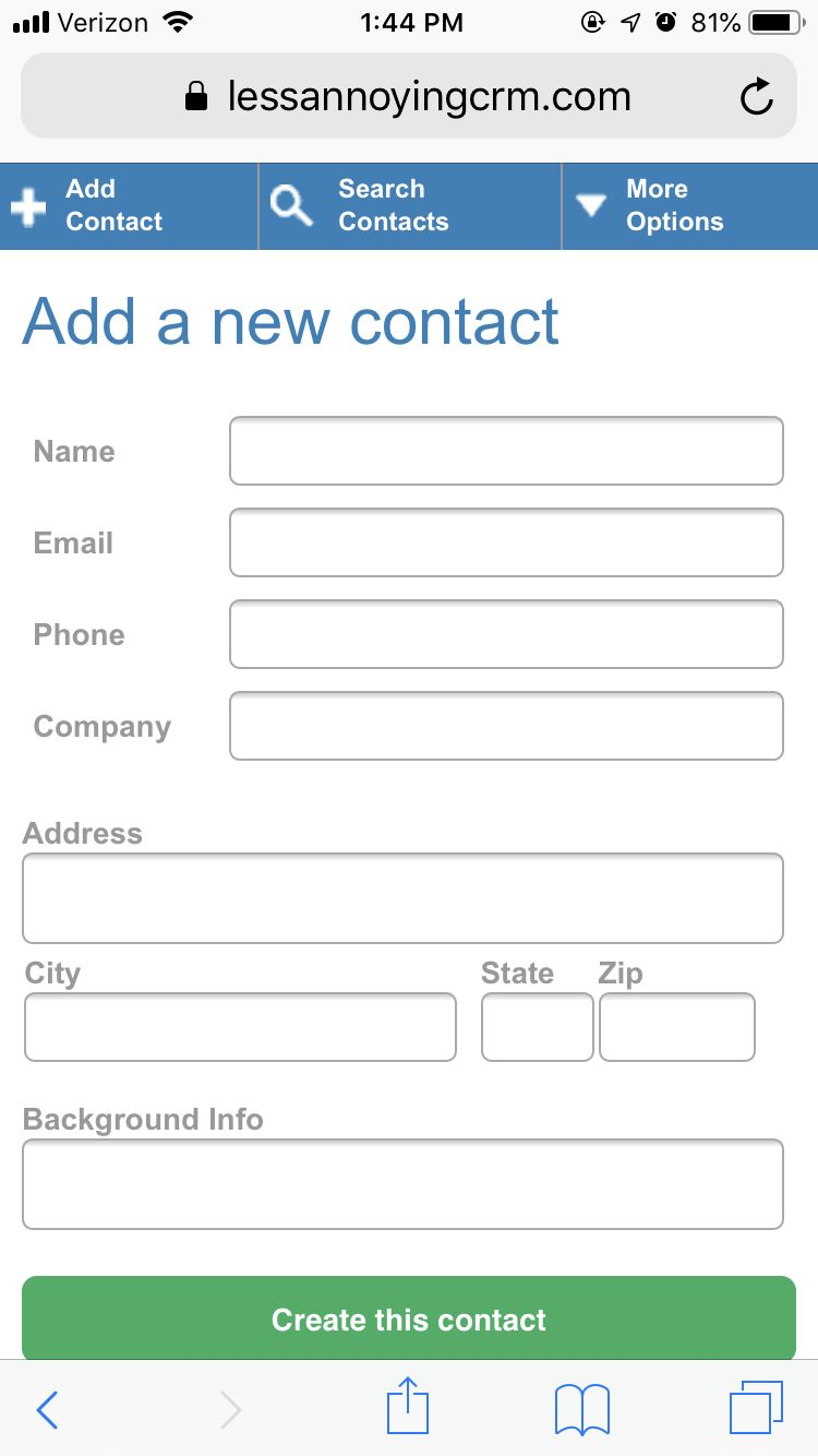 Creating a contact via mobile in Less Annoying CRM