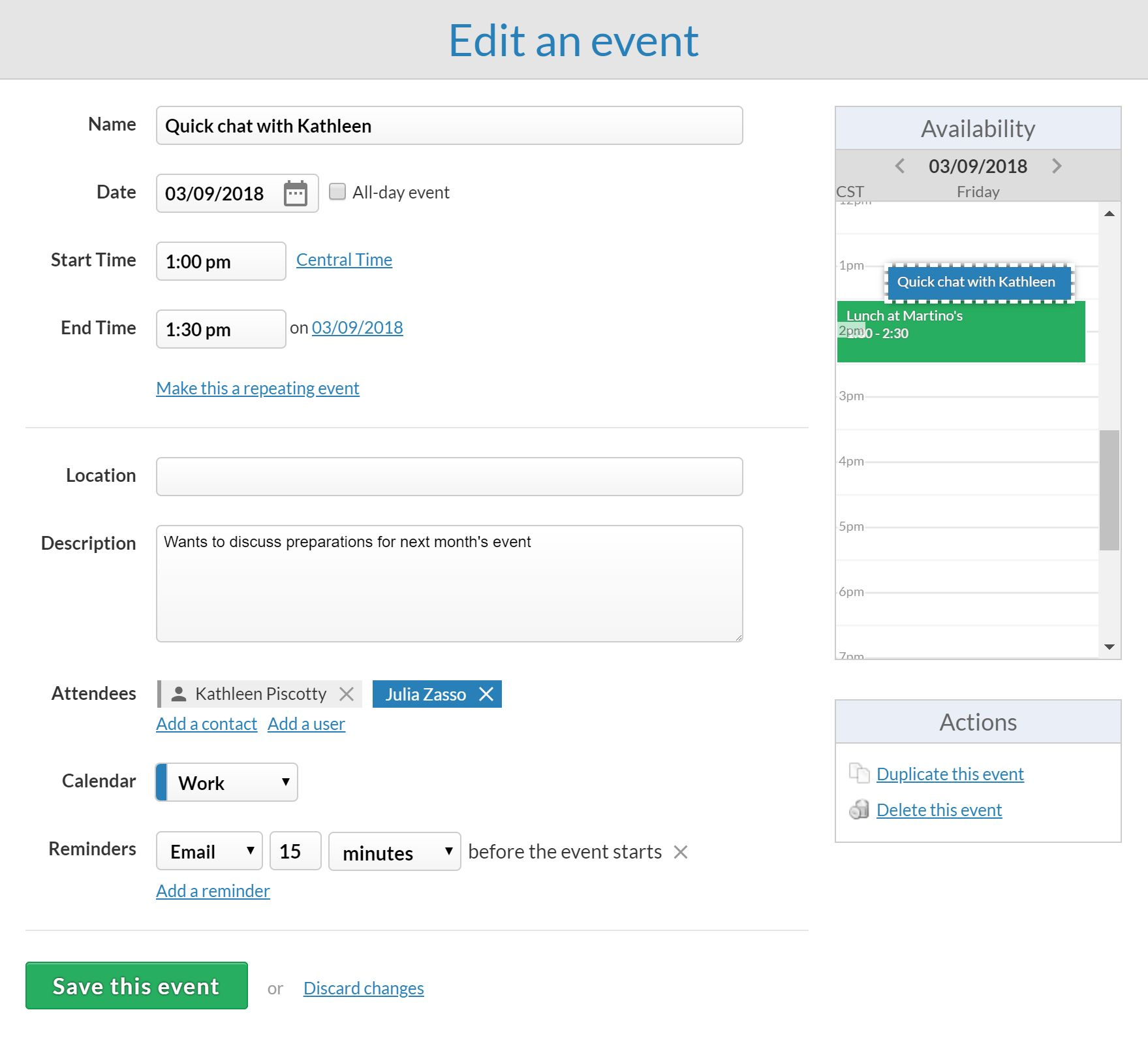 Adding an event to the CRM