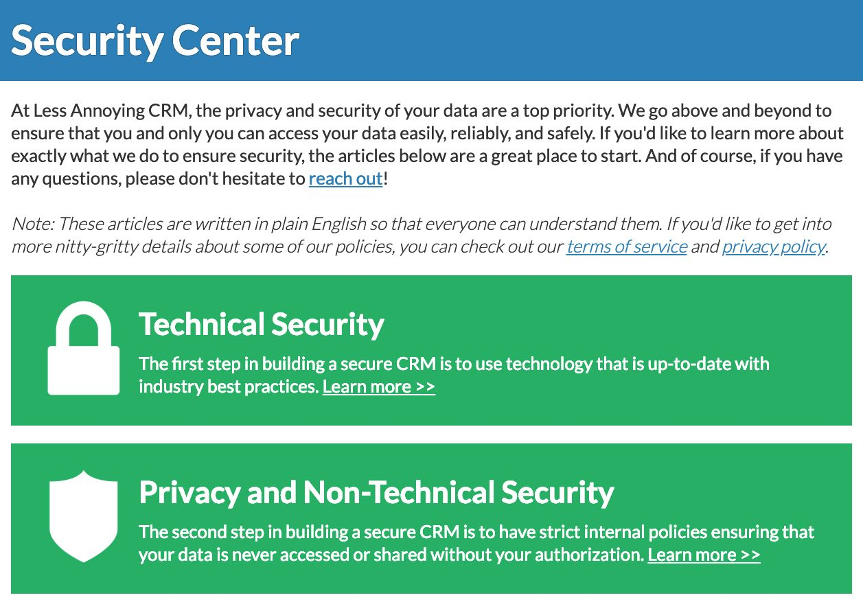 Check out Less Annoying's Security Center for info on how we protect your data!