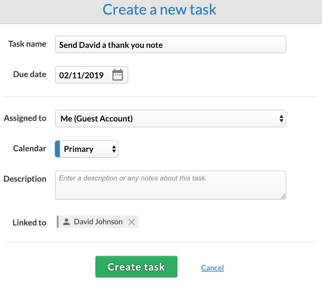 Add a task in the CRM!