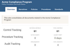 Example of Comply dashboard tasks