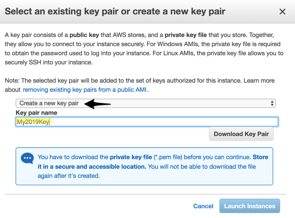 Create a new key pair for your jump server