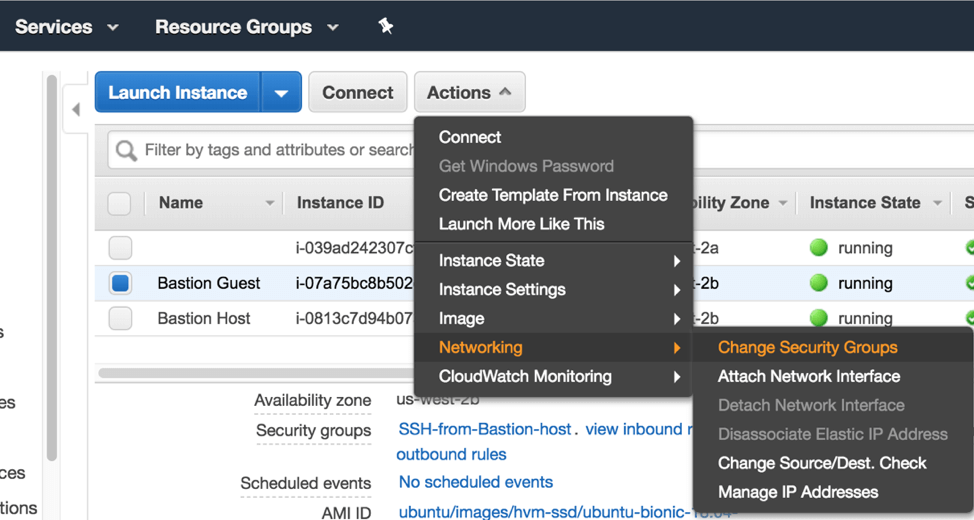 In AWS, under Network and Change Security Groups