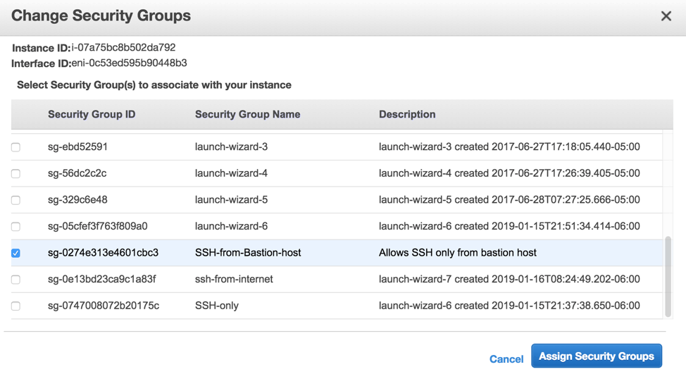 AWS interface to assign security groups