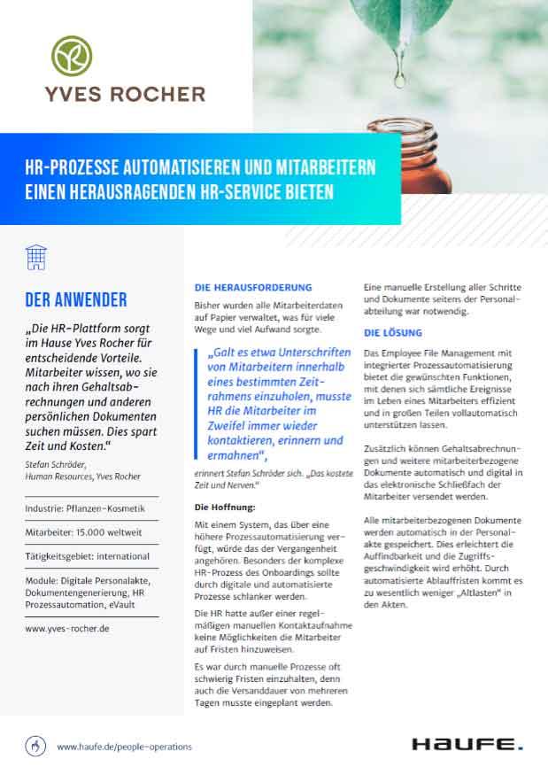 Die Haufe HR-Service-Plattform im Einsatz bei Yves Rocher