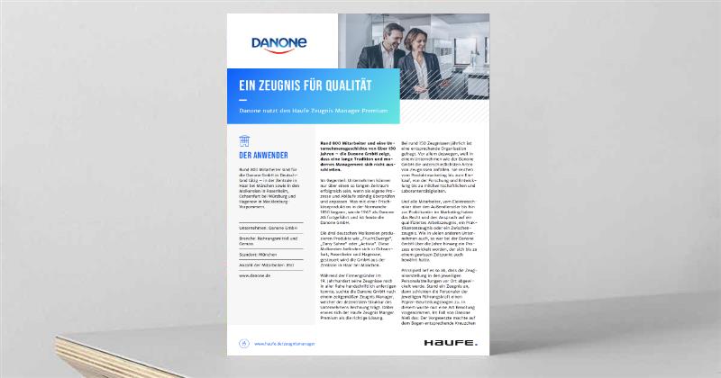 Case Study: Danone nutzt den Haufe Zeugnis Manager Premium