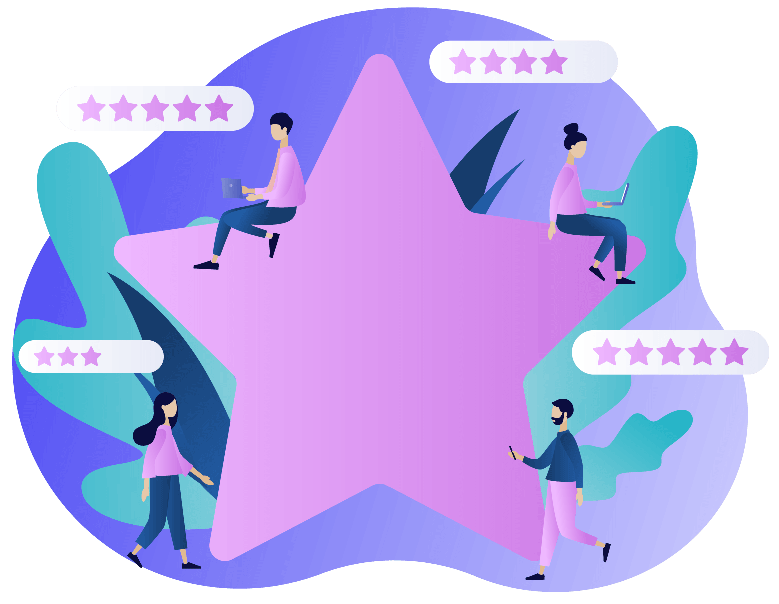 Reviews and Company graphic