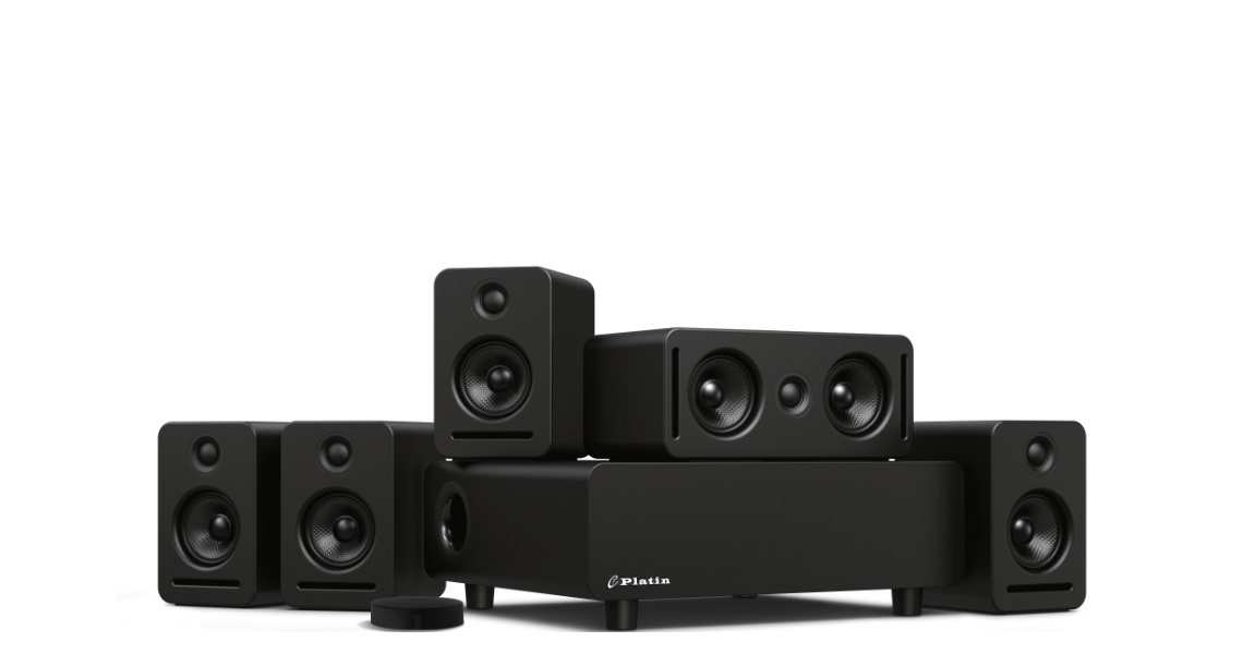 The Enclave Audio CineHome Pro 5.1 Wireless Home Theater System features a center channel speaker, subwoofer, right and left front channel speakers, right and left rear surround speakers, and the Enclave Audio CineHub.