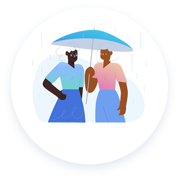 An illustration of two people of color under an umbrella.