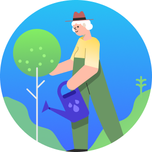 Illustration of a person watering a plant