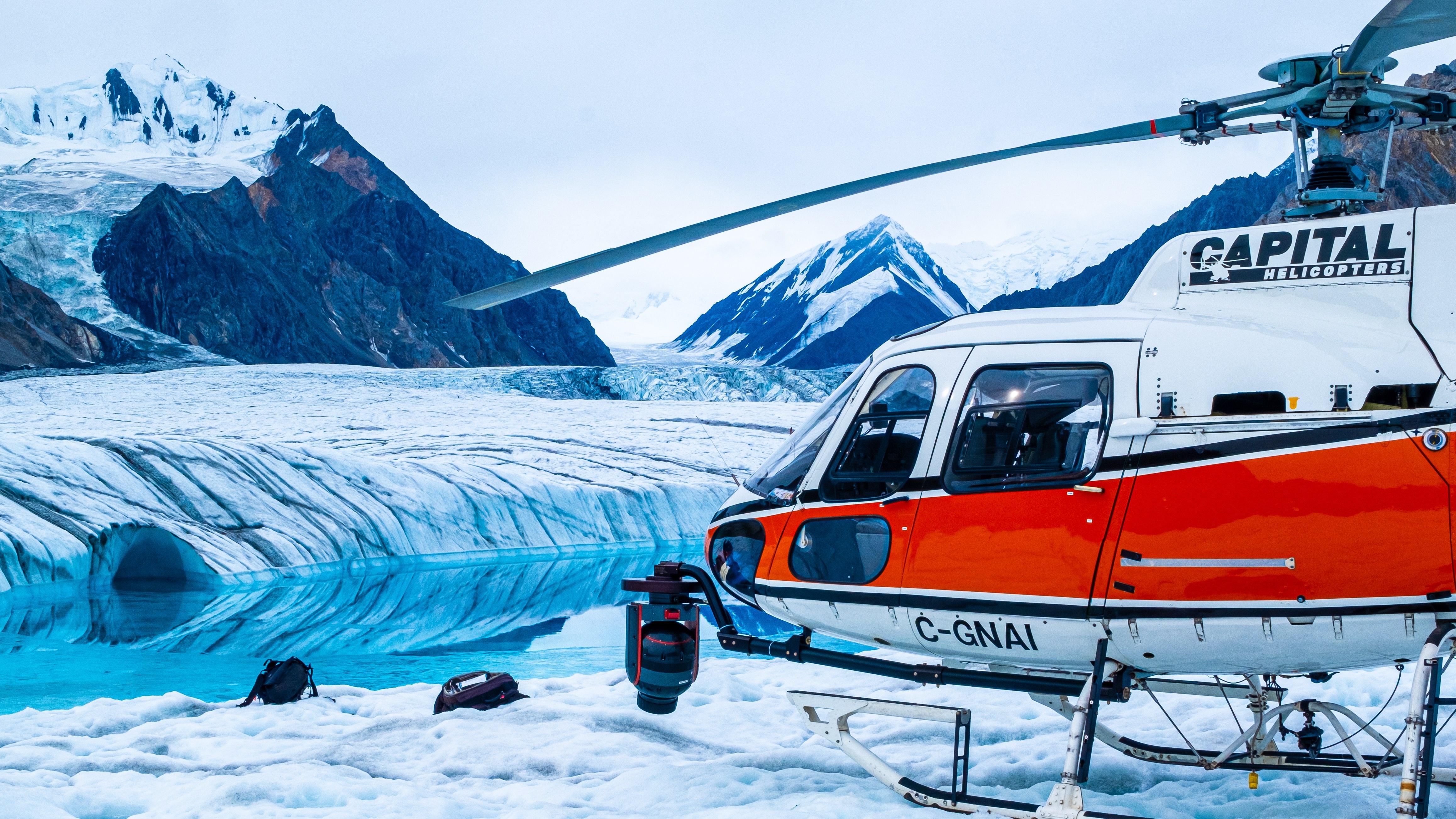 Aerial photo of glacier.