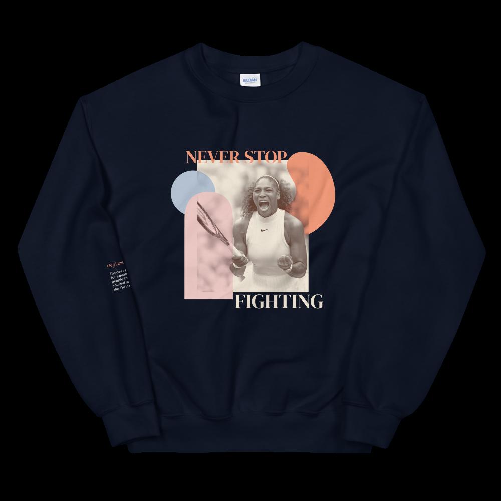 Never Stop Fighting — Serena Williams Unisex Sweatshirt in Navy