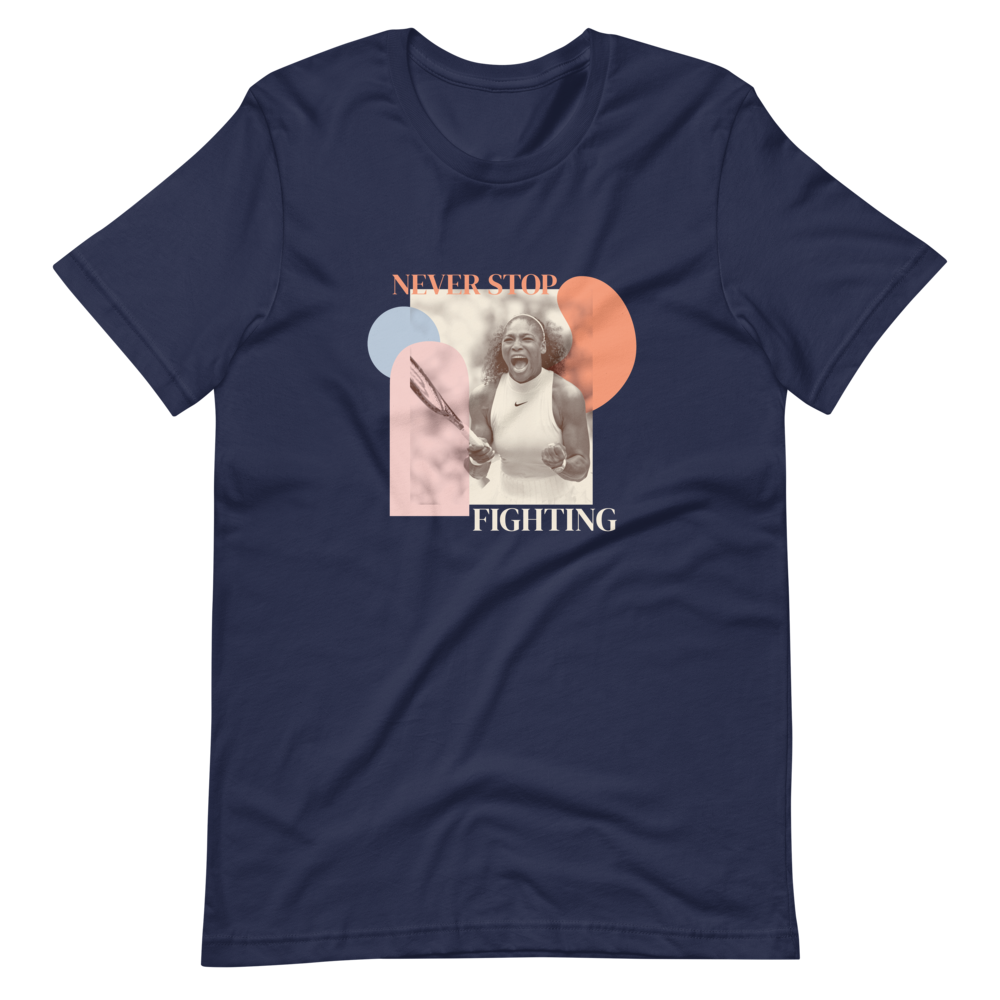 Never Stop Fighting — Serena Williams Short-Sleeve Unisex T-Shirt in Navy