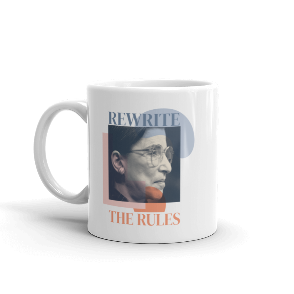 Rewrite the Rules — Ruth Bader Ginsburg White Glossy Mug