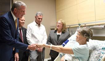 NYC Mayor Visits Terror Victims at Hadassah Hospital