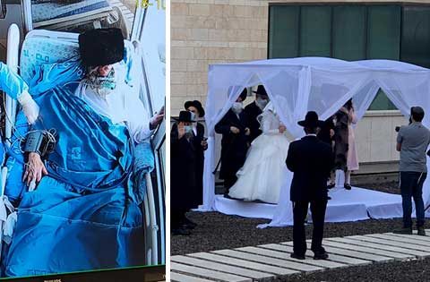 Wedding at Hadassah Includes Father Stricken With COVID-19