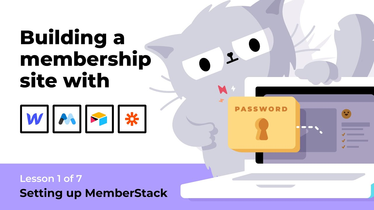 (1 of 7) How to build a membership site with Webflow, MemberStack, Airtable & Zapier course