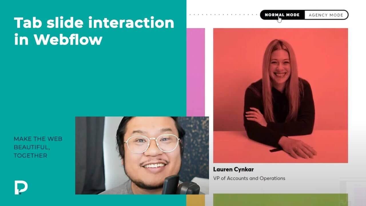 Tab slide interaction in Webflow