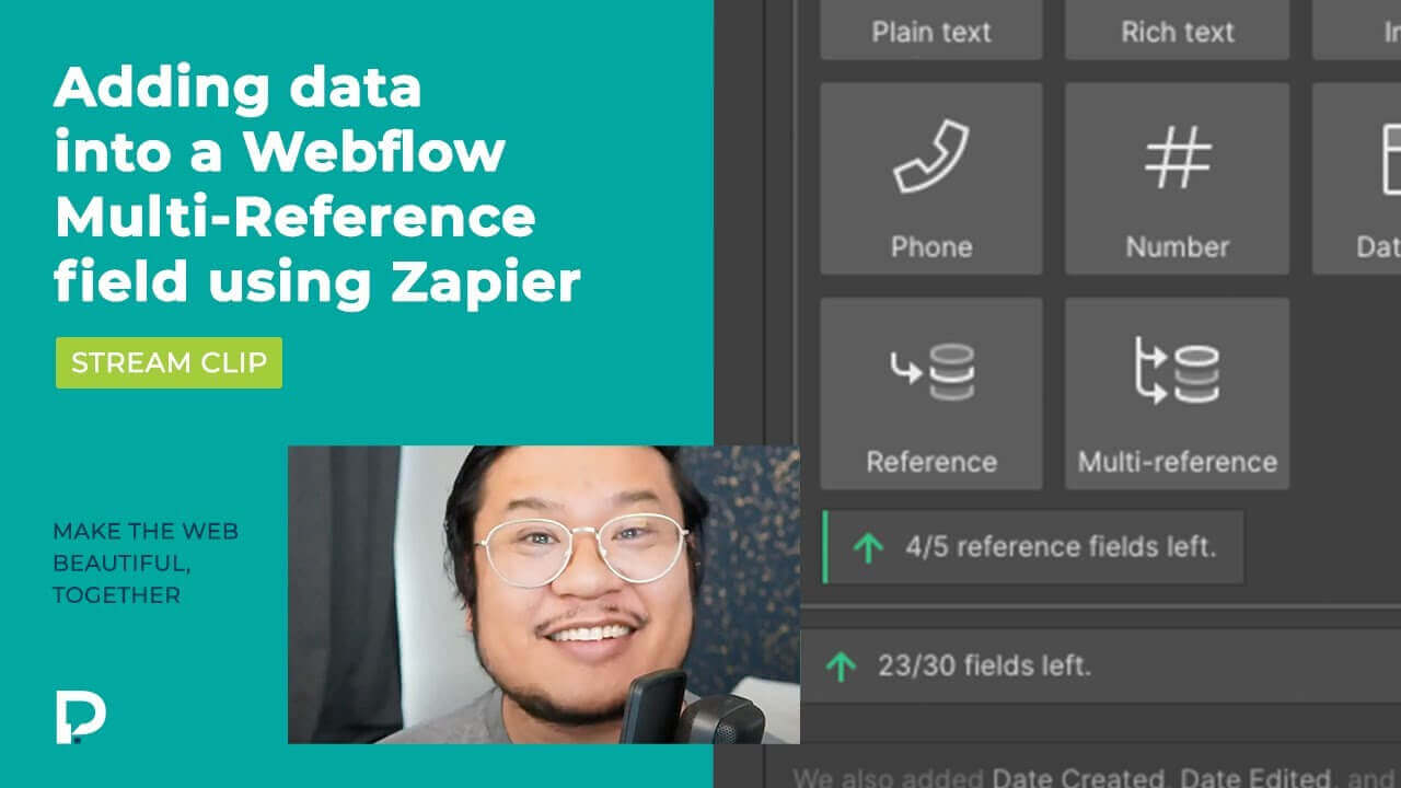 Adding data into a Webflow Collection Multi-Reference field using Zapier - Stream clip