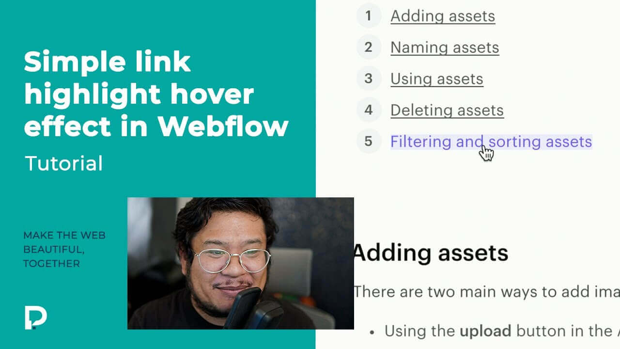 Simple link highlight hover effect in Webflow - Tutorial