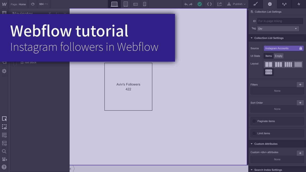 How to import the numbers of instagram followers into a Webflow Project