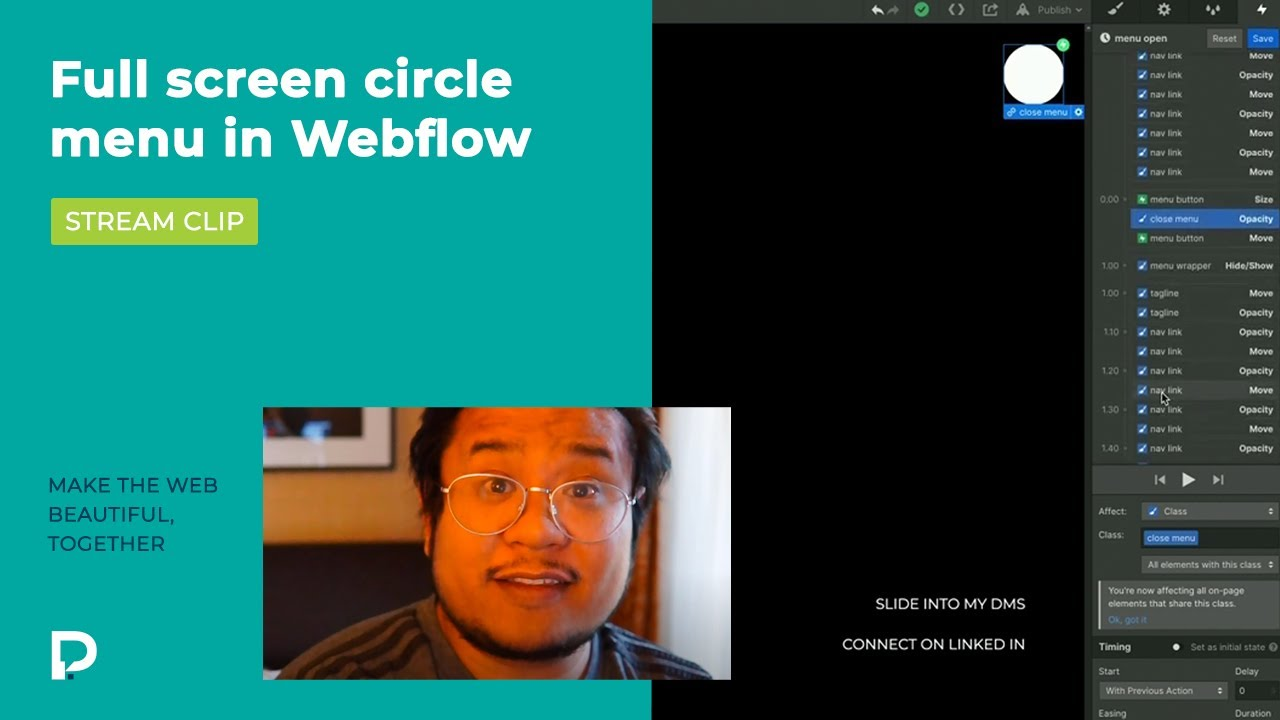 Full screen circle menu in Webflow - Stream clip