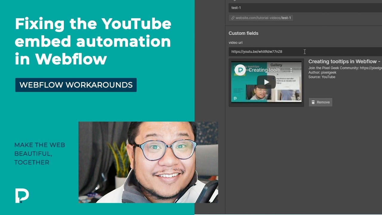 Fixing the YouTube embed automation in Webflow - workaround tutorial