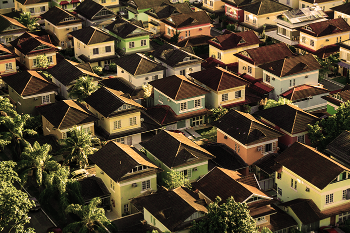 Aerial view of homes in Barra da Tijuca, Brazil during the daytime