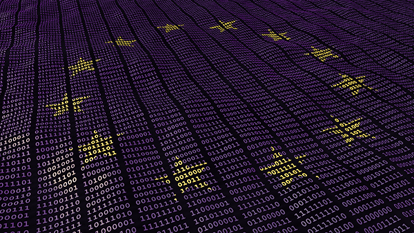 EU data protection bits and bytes with EU stars waving pattern. 3D illustration