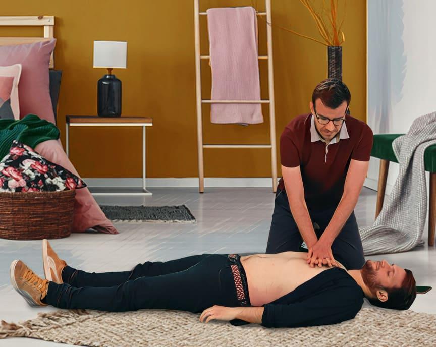 Positionnement pour effectuer un massage cardiaque