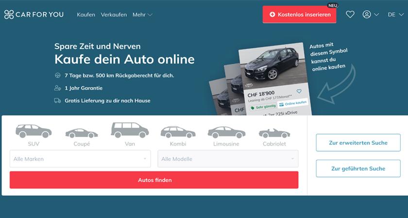 Car For You neu mit Online-Direktkauf und Rückgaberecht für Gebrauchtwagen