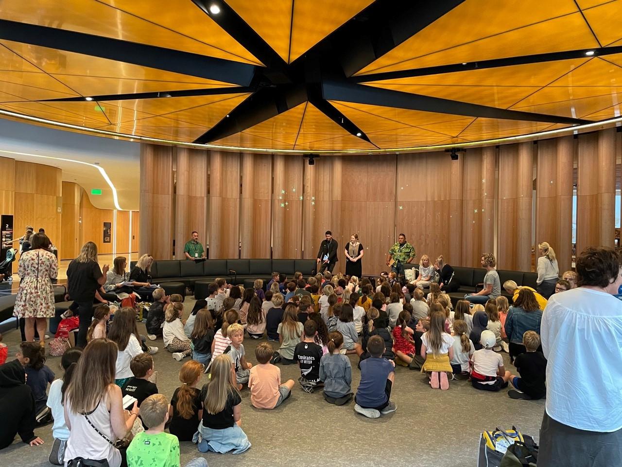 Welcoming learners to Te Ao Mārama South Atrium.