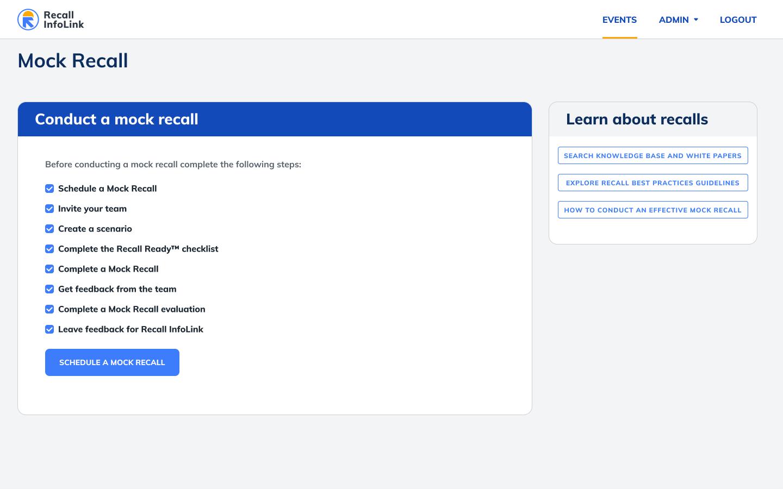 Recall InfoLink example of mock recall.