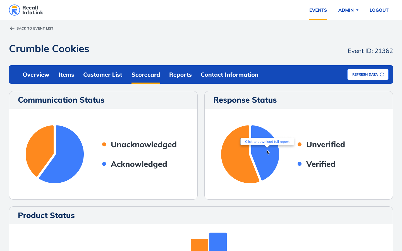 Recall InfoLink example of tracking a recall progress.