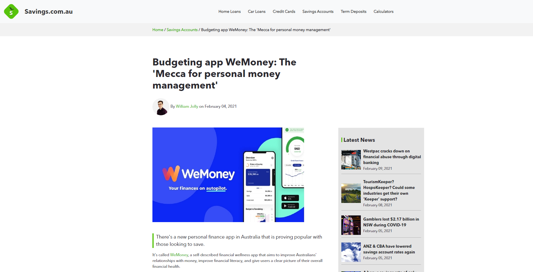 screenshot of the savings.com.au article featuring WeMoney