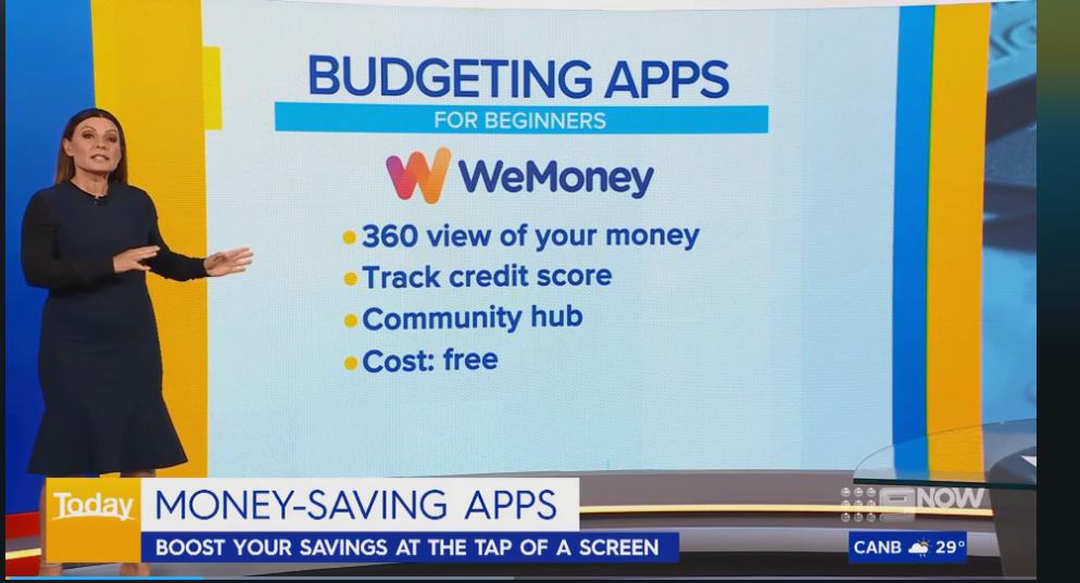 Financial commentator Effie Zahos running through the features of WeMoney during a live cross on the Today Show