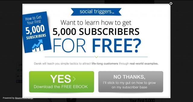 social triggers automatic pop up
